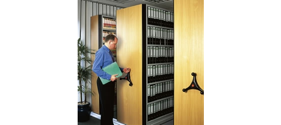 Man using Stormor Systems mobile storage in an office environment