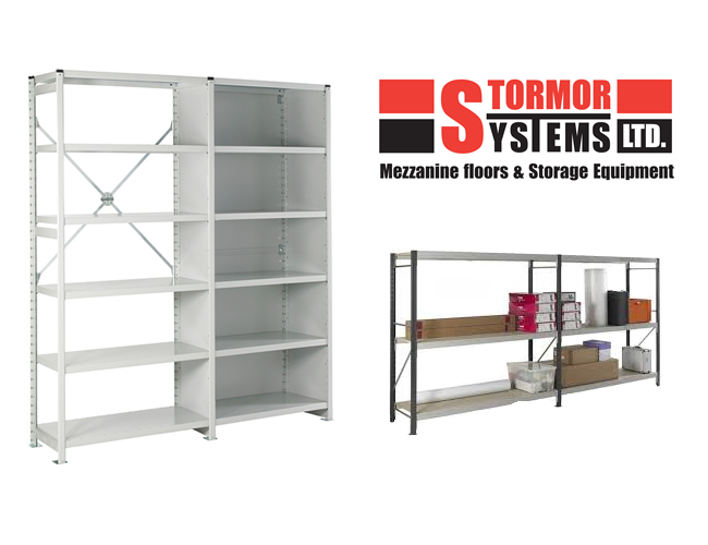 Stormor Systems longspan shelving system and Stormor Systems logo