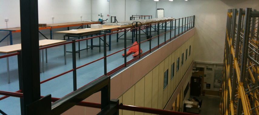 Stormor Systems mezzanine flooring in a warehouse