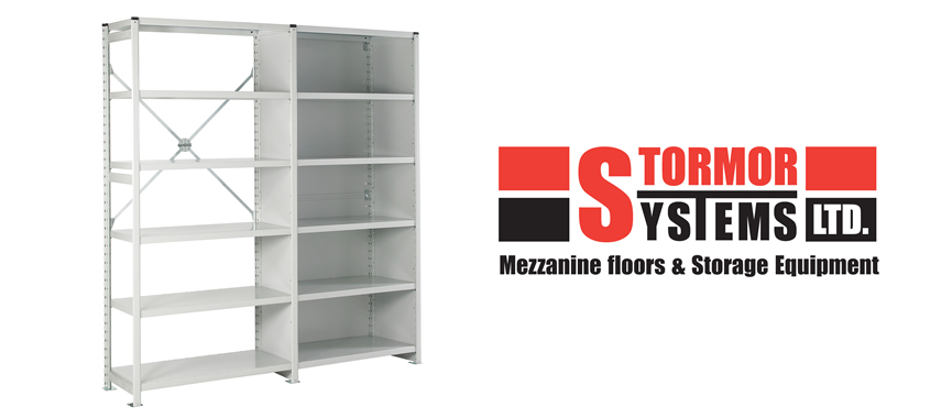 Stormor Systems logo and metal storage unit